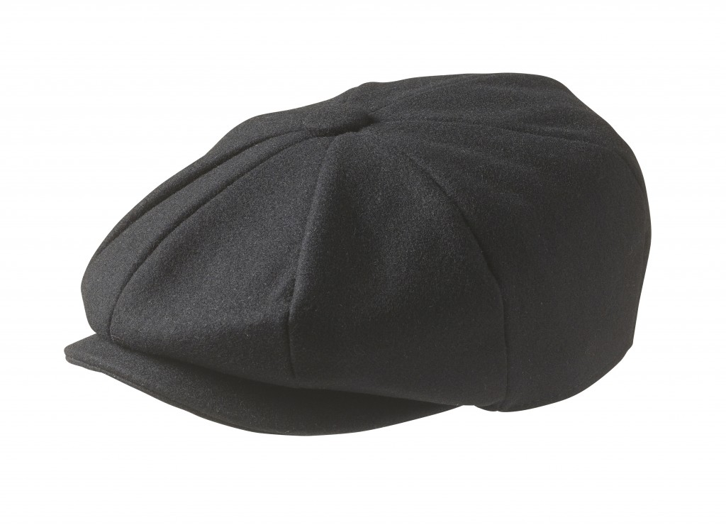 Melton Wool Black Newsboy Cap