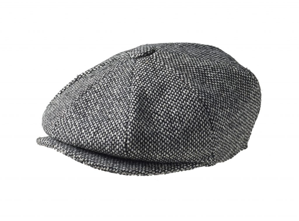 e0e564e9c Melton Wool Bird's Eye Black Tweed Newsboy Cap
