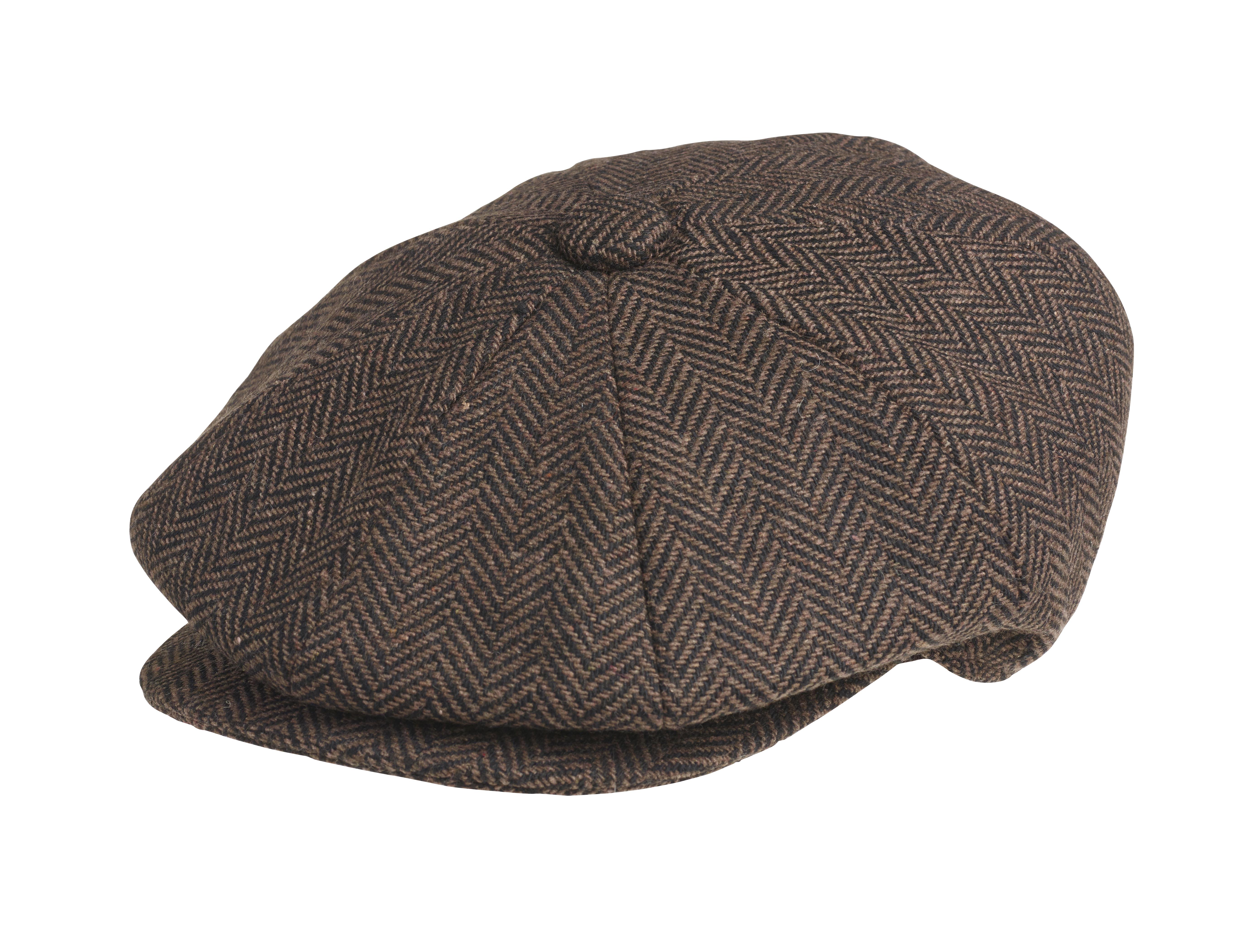 Peaky blinders wool dark brown herringbone newsboy cap