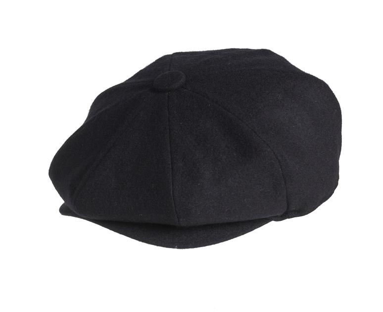 ed9b90ad Peaky Blinders 100% Melton Wool - Summer Weight Black Newsboy Cap